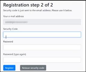 Registration step 2
